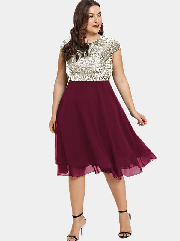 Esprlia Plus Size Sequin Short Cap-Sleeve Dresses
