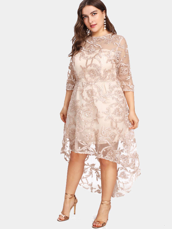 Esprlia Women's Plus Size Hi-low Embroidery Dress