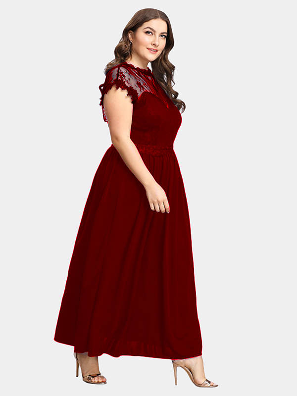 Esprlia Plus Size Lace Sweetheart Maxi Dress