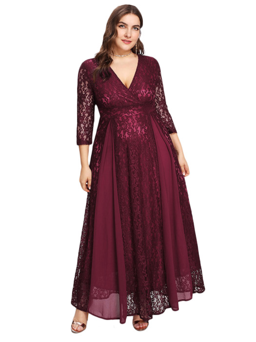 Esprlia Plus Size V Neck Lace Dress Red