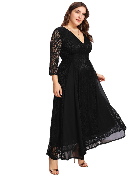 Esprlia Plus Size V Neck Lace Dress Black