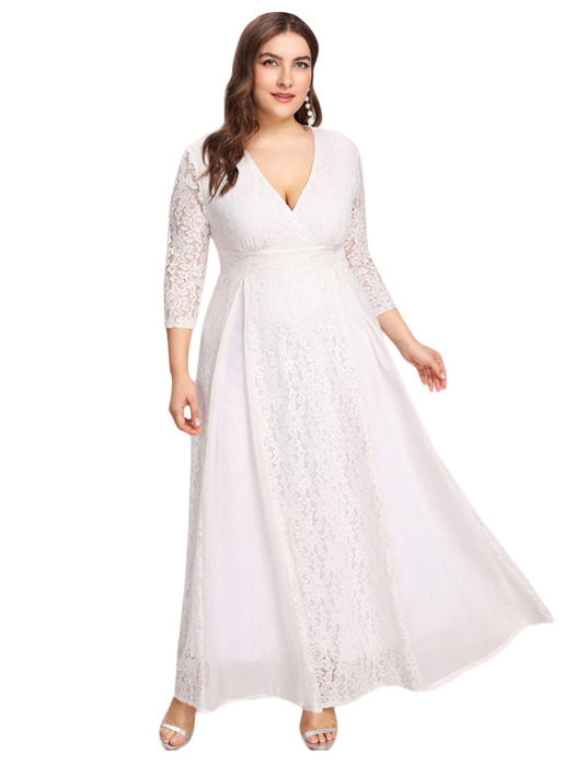 Esprlia Plus Size V Neck Lace Dress White