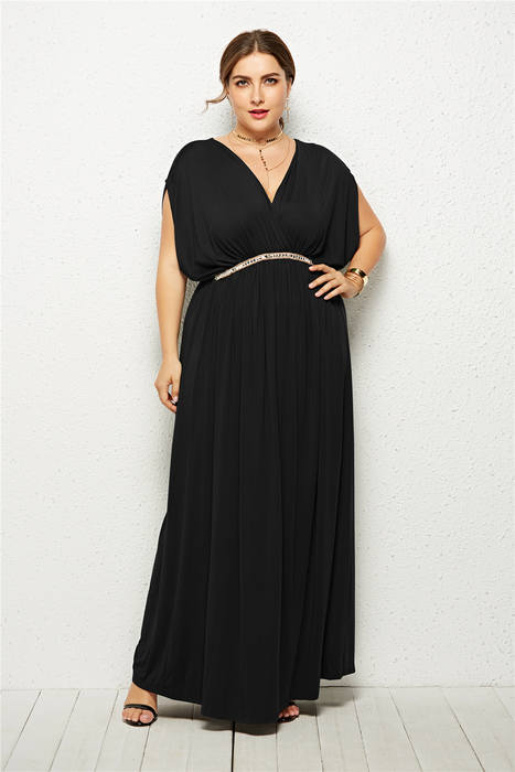 Esprlia Plus Size V Neck Metal Decoration Dress