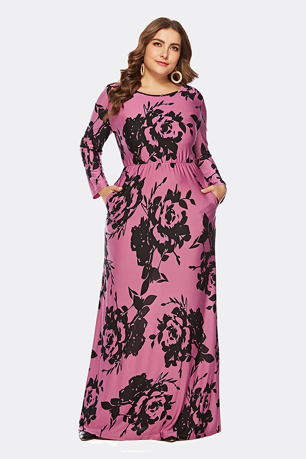 Esprlia Plus Size Floral Print Dress With Pocket