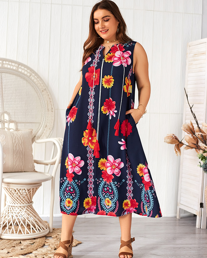 Esprlia Plus Tribal Print Maxi Pocket Dress