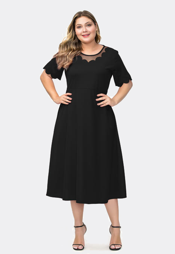 Esprlia Women's Plus Size Short Sleeve Dress