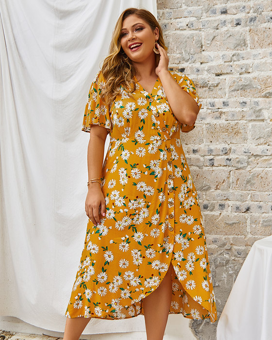 Esprlia Plus Size Flower Print Button Through Dress