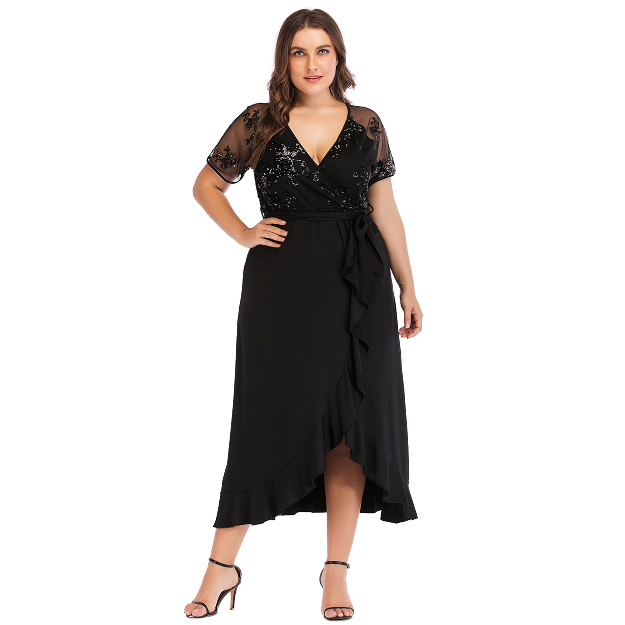 Esprlia Plus Semi Sheer Bodice Tie Waist Dress