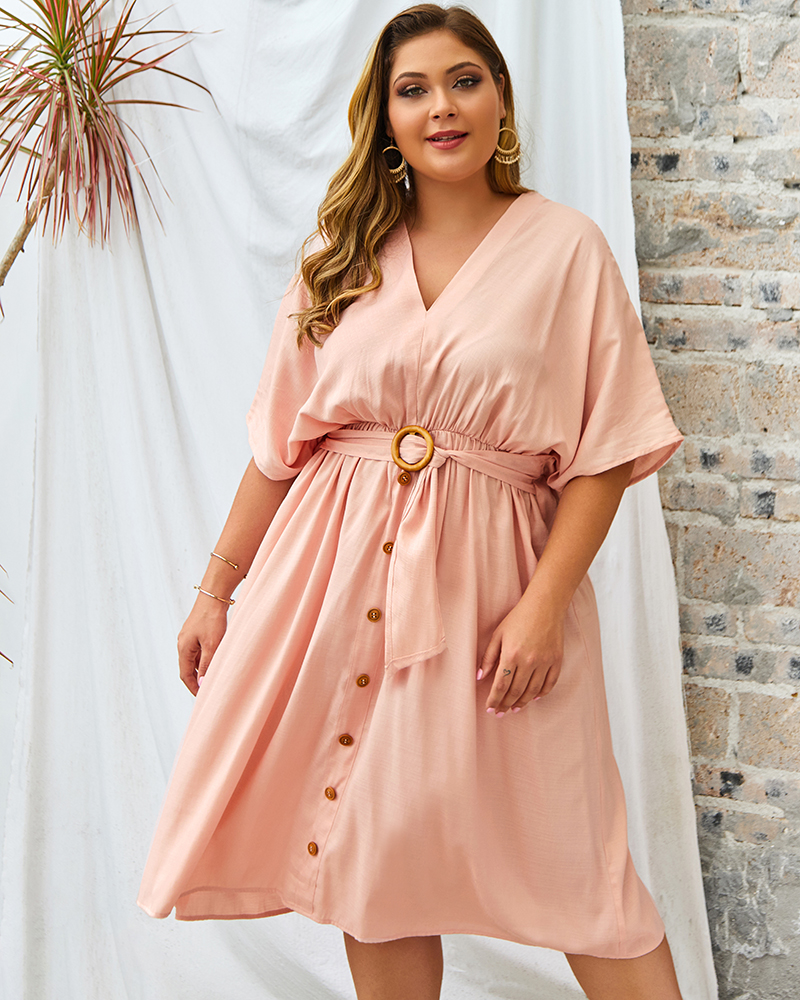 Esprlia Plus Size  V-Neck Button Dress Belted Dress