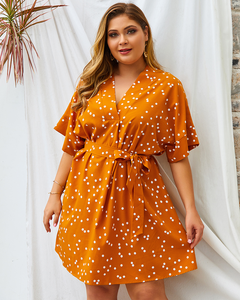 Esprlia Plus Size V-Neck Polka Dot Belted Dress