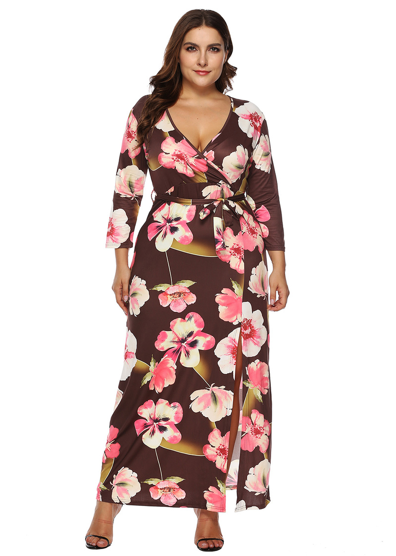 Esprlia Plus Long Sleeve Maxi Floral Dress