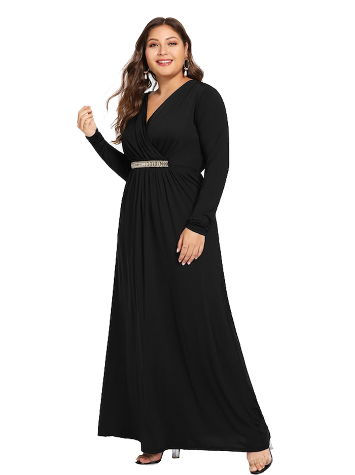 Esprlia Plus Long Sleeve Wrap Prom Dress