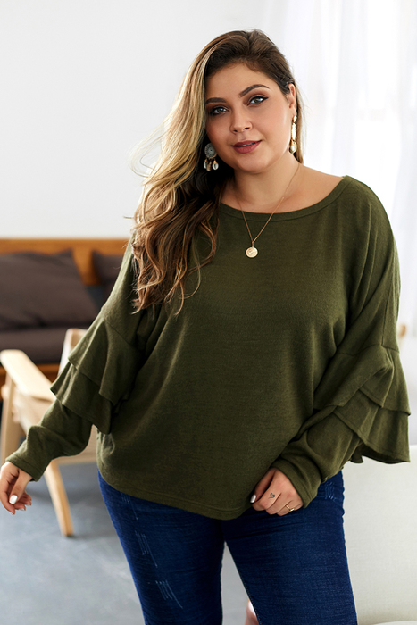 Esprlia Plus Formal Ruffle Sleeve Blouses