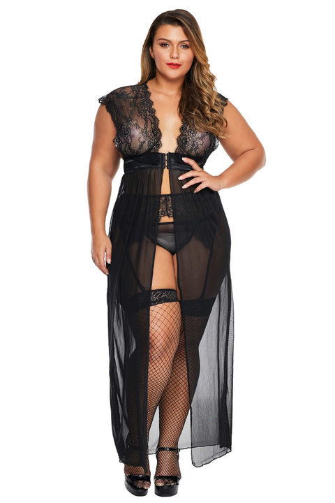 Esprlia Plus Size Locked Away Lover Lingerie Gown