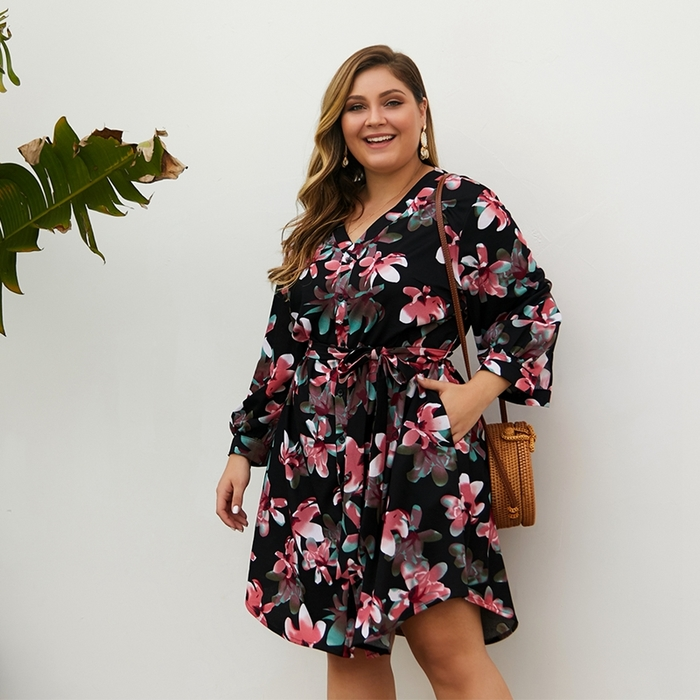 Esprlia Plus Button Front Self Belt Floral Dress
