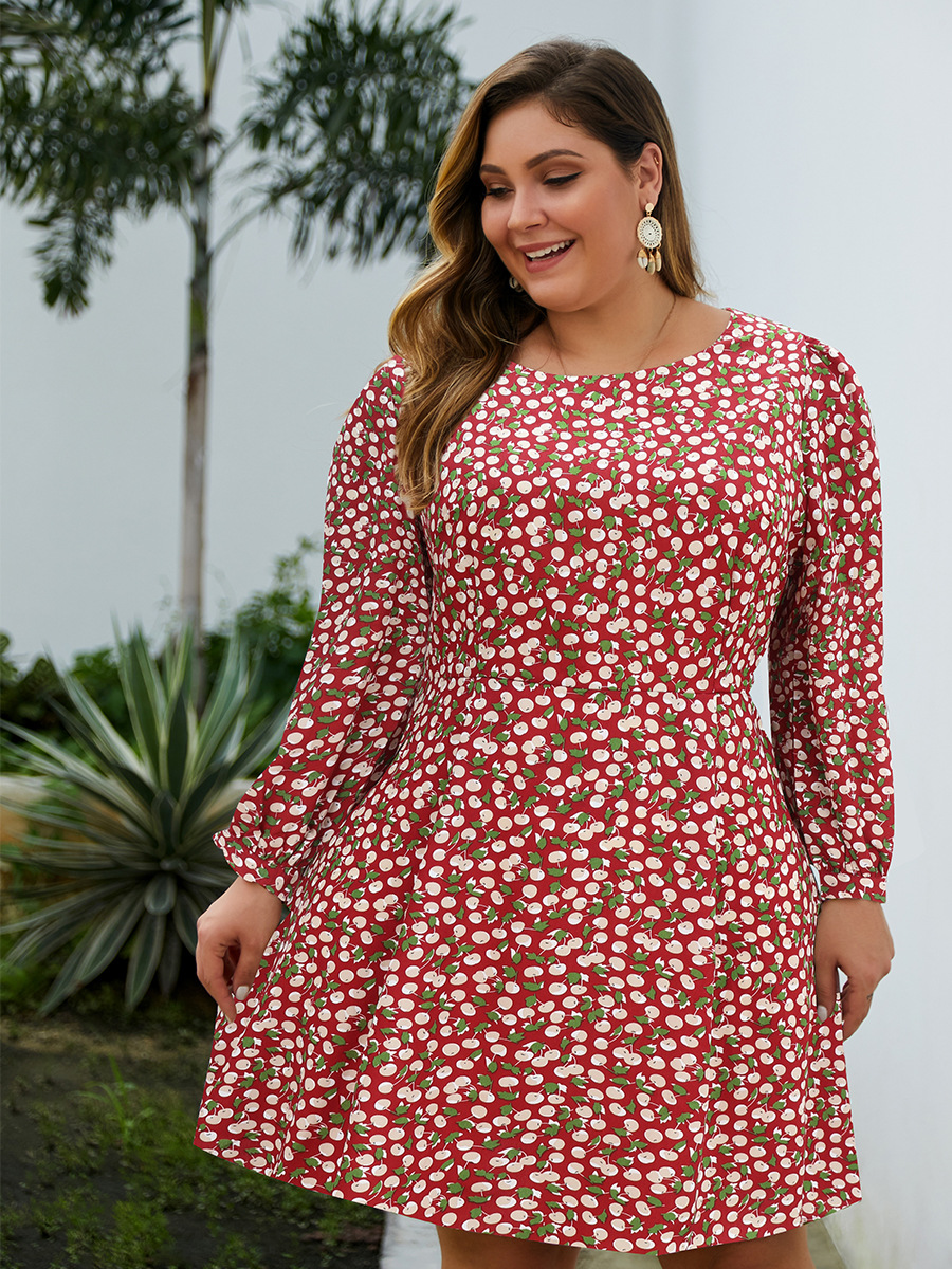 Esprlia Plus  Allover Cherry Print Dress