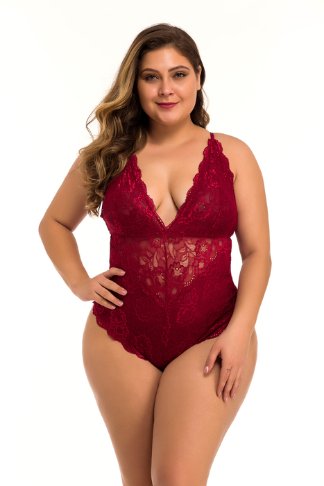 Esprlia Scalloped Trim Cut-Out Floral Lace Teddy