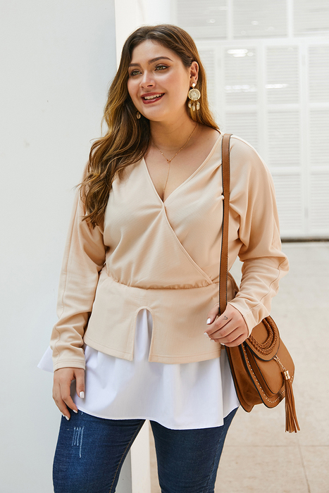 Esprlia Plus Contrast Shirt Two Tone Blouse