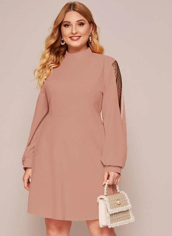 Esprlia Plus Dobby Mesh Panel Mock Neck Dress