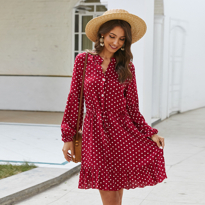 Esprlia V Neck Polka Dot Wrap Dress