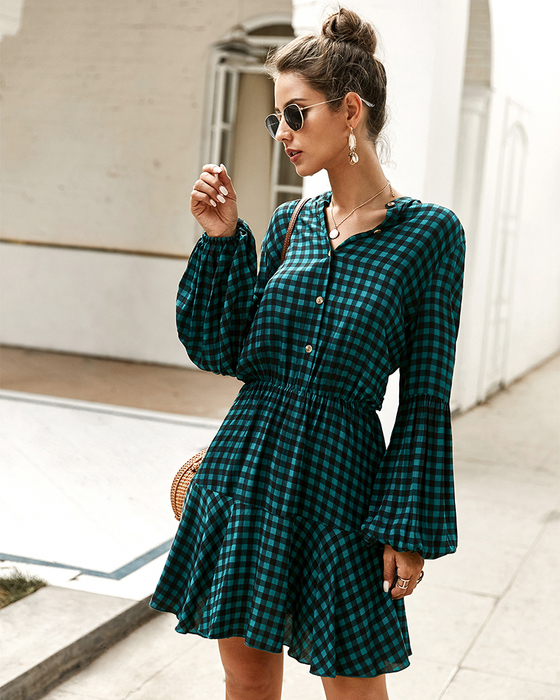 Esprlia Plaid Dress with Buttons