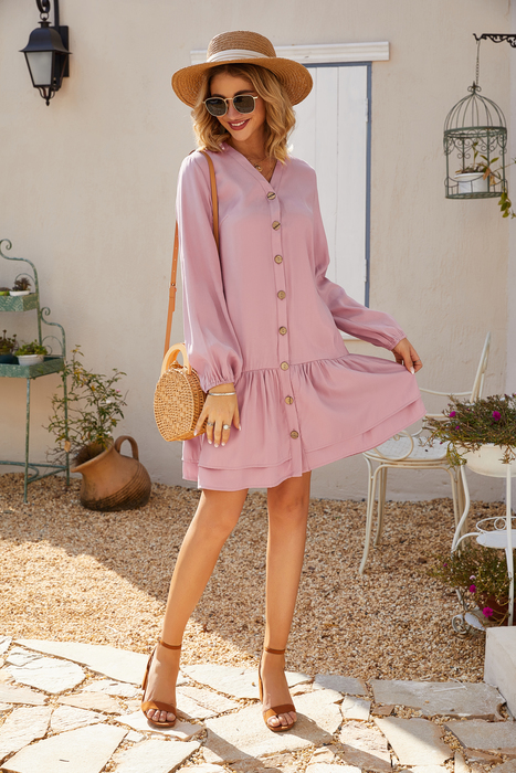 Esprlia Button Front Flippy Hem Dress