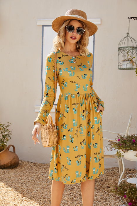 Esprlia Cartoon Printed Casual Dress