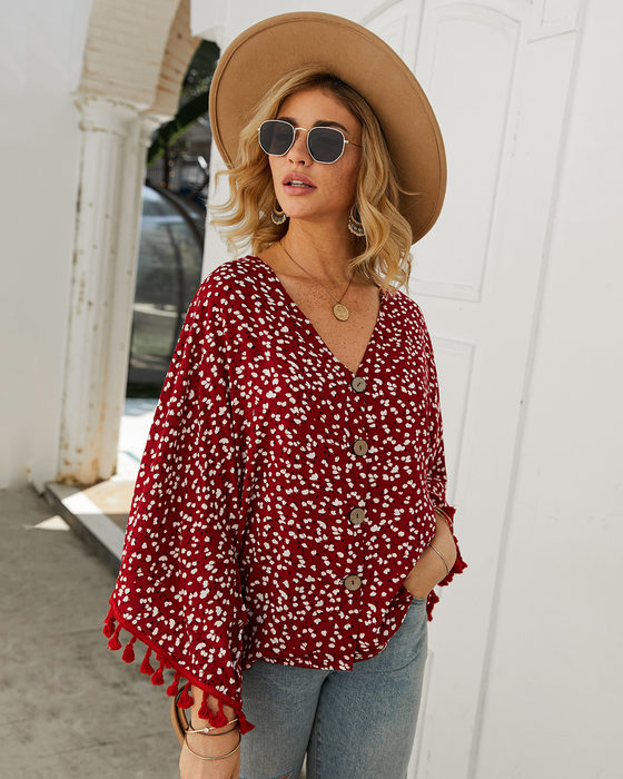 Esprlia Polka Dot Tassel Decoration Blouse