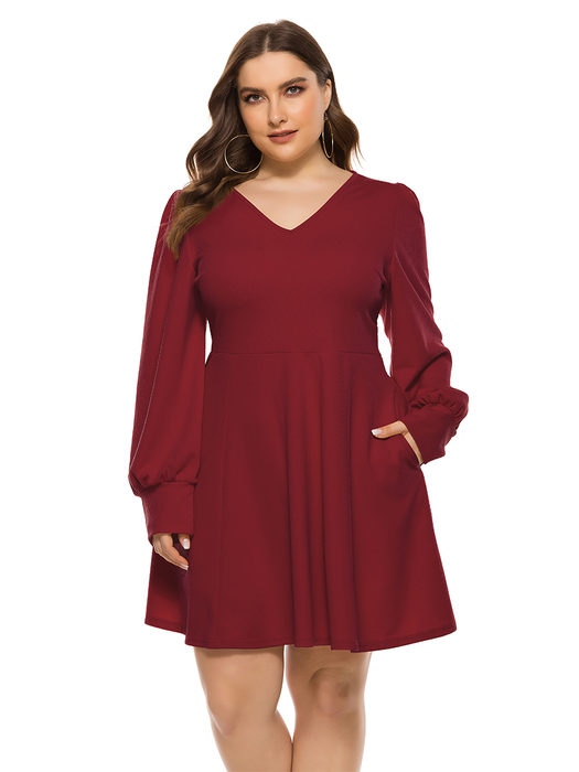 Esprlia Plus V Neck Pocket Dress