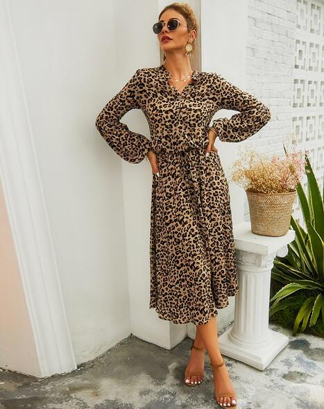 Esprlia Leopard Printed Maxi Dress