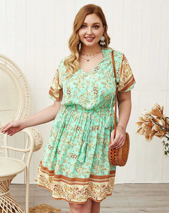 Esprlia Plus Floral Print Fringe Waistline Dress