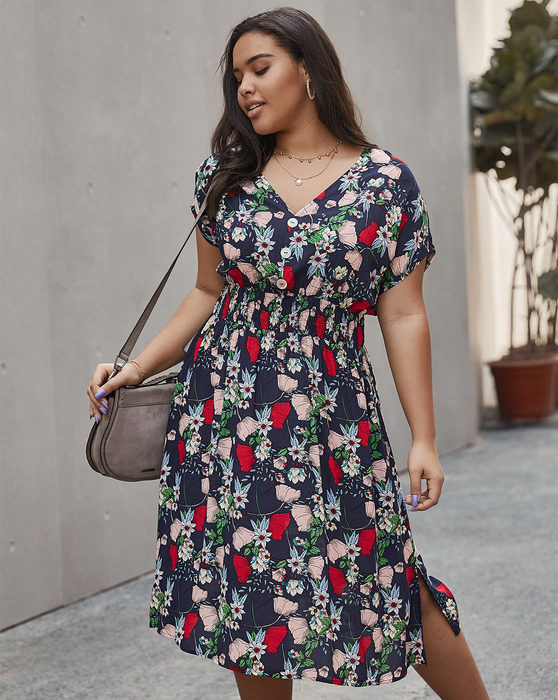 Esprlia Plus Floral Print Shirred Waist A-line Dress
