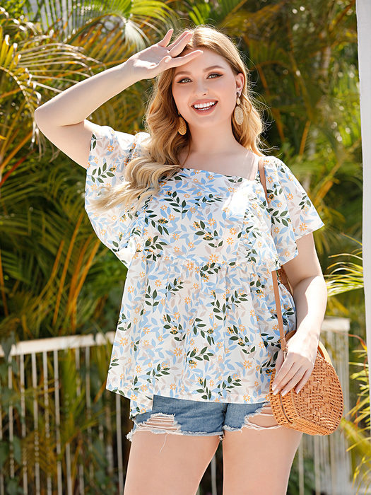 Esprlia Plus Floral Print Square Neck Blouse