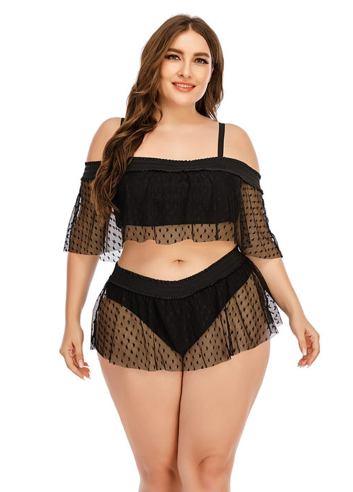Esprlia Plus Overlay Mesh Cold Shoulder Swimsuit