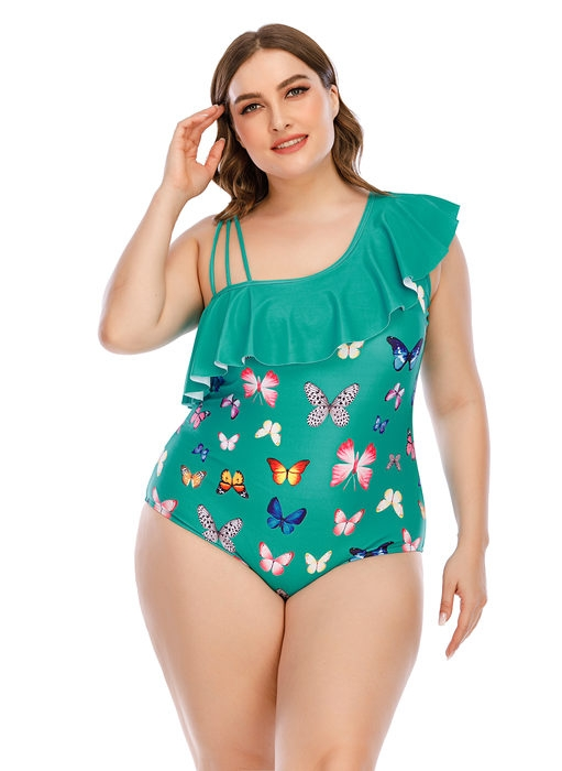 Esprlia Plus Ruffle One-piece Swimsuit